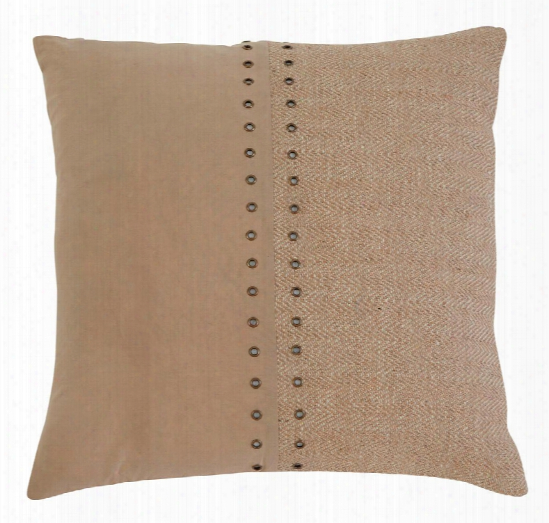 "Textured A1000318p Single 18"" X 18"" Pillow With Fiber Filling Jute Cover And Button-up Look In"