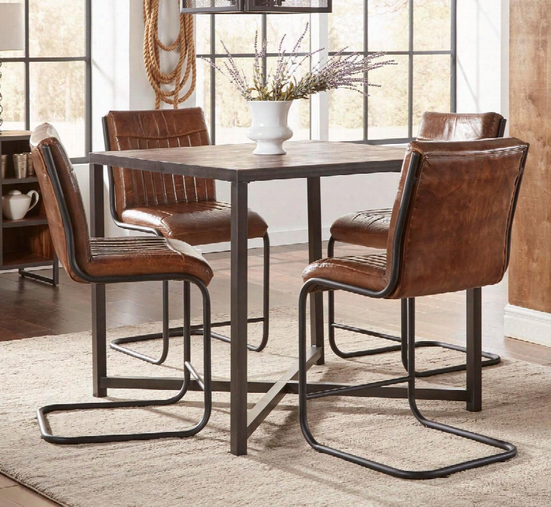 The Studio 16 5-piece Dining Room Set With Counter Height Table And 4 Stools Features Square Table Shape With Acacia Solids Metal Detailing In Wire Brush