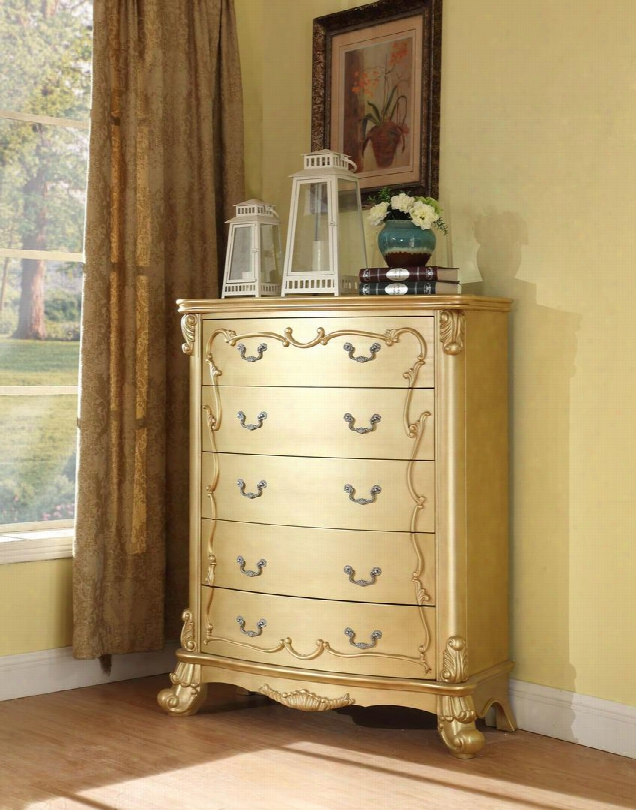 "Zelda Collection Zelda-ch 56"" Chest With Carved Detailing Decorative Hardware And Traditional Style In Rich Gold"