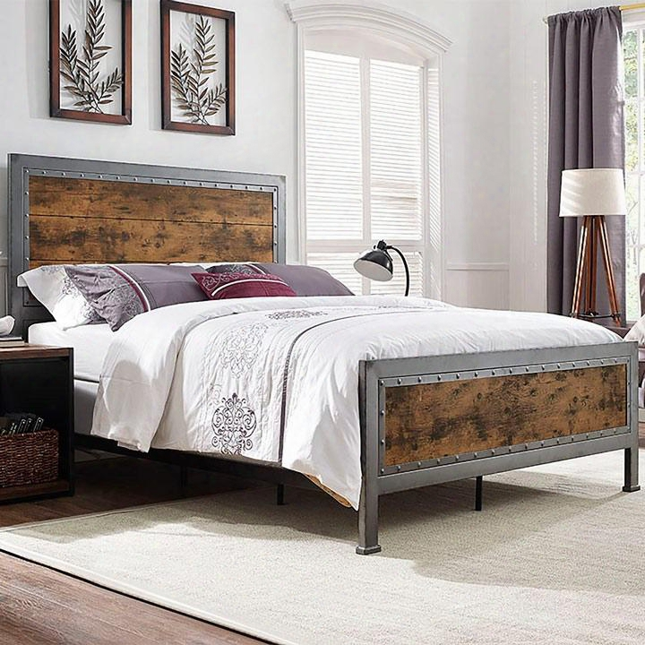 Bqslrw Queen Size Metal And Wood Plank Bed -