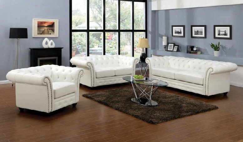 Camden Collection 50165slt 6 Pc Living Room Set With Sofa + Loveseat +chair + Coffee Table + 2 End Tables In White