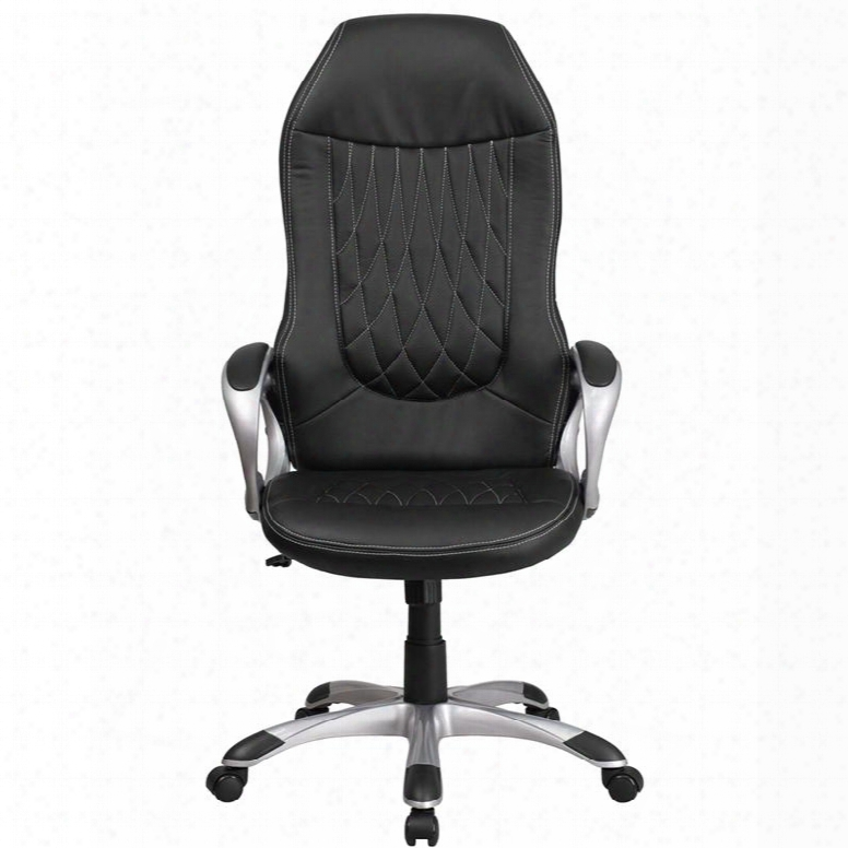 """Ch-cx0906h-bk-gg 47"""" - 51"""" Executive Swivel Office Chair With High Back Design Lumbar Support And Waterfall Seat In"""