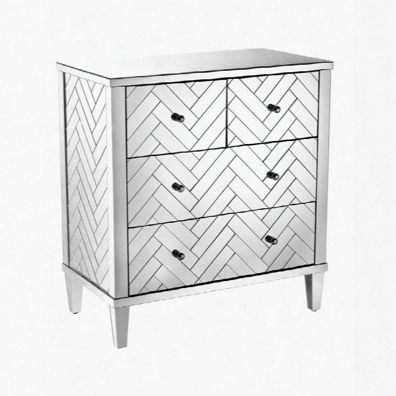 "Chatelet Colletcion 1114-211 33"" Chest With 4 Drawers Glossy Black Pulls Tapered Legs Herringbone Mirrored Pattern And Metal Construction In Clear"