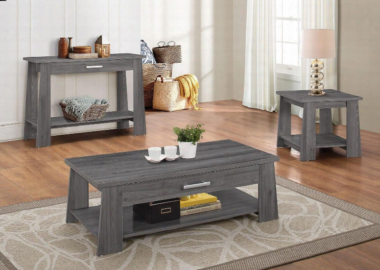 Falan 83280ces 3 Pc Living Room Table Set With Coffee Table + End Table + Sofa Table In Dark Grey