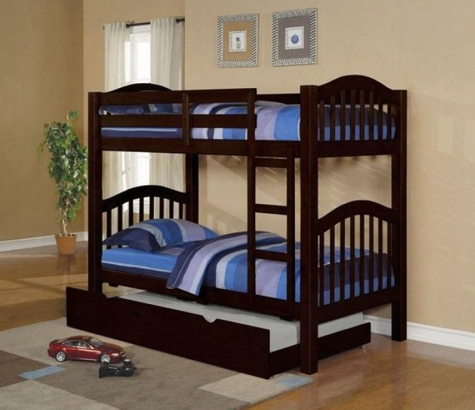 Heartland 02554bt 2 Pc Bedroom Set With Twin Bunk Bed + Trundle In Espresso