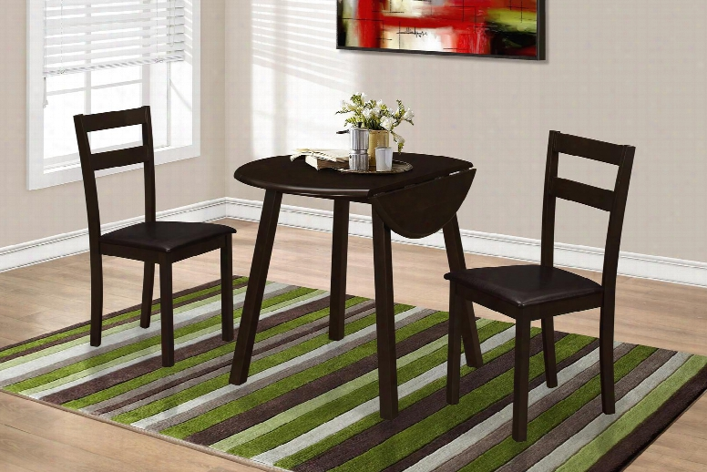"I 1005 36"" 3 Pcs Dining Set With Drop Leaf Table Square Legs And Ladder Back Seating In"