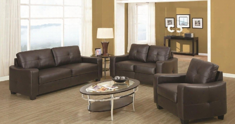 Jasmine 502731set 3 Pc Living Room Set With Sofa + Loveseat + Chair In Dark Brown