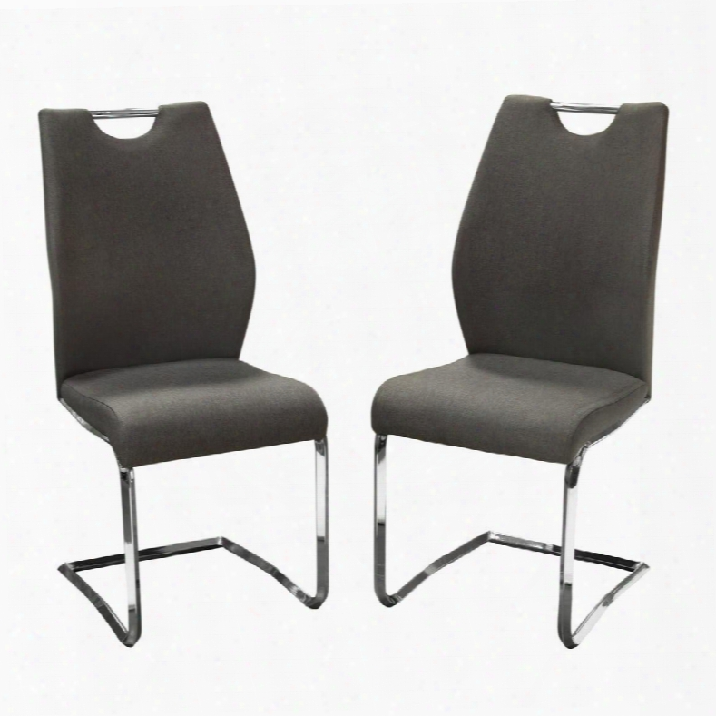 "London Londondcgr2pk Set Of (2) 40"" Dining Chairs With Grey Fabric Upholstery Chromed-steel Frame And Designer"