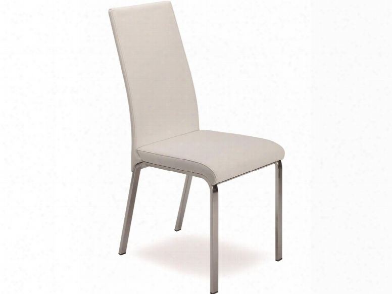 "Lotto Collection Tc-2007-wh 39"" Dining Chair With Italian Leather Chrome Legs And Stitched Detailing In"