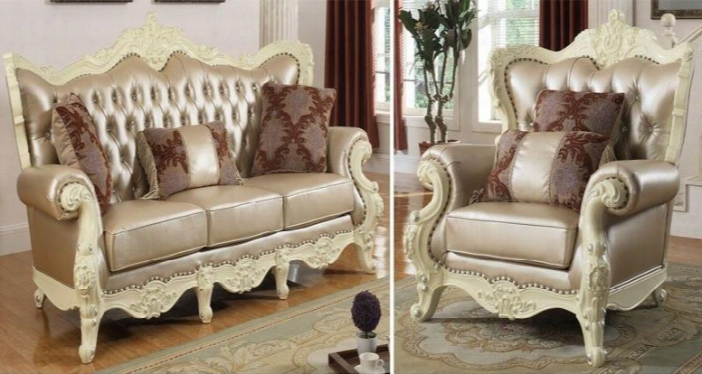 Madrid 674-s-c 2 Piece Living Room Set With Sofa And Chair In Rich Pearl