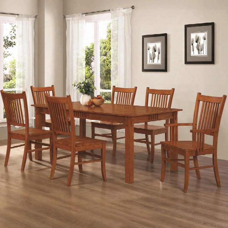 Marbrisa 100621set 7 Pc Dining Room Set With Table + 4 Side Chairs + 2 Arm Chairs In Warm Medium Brown