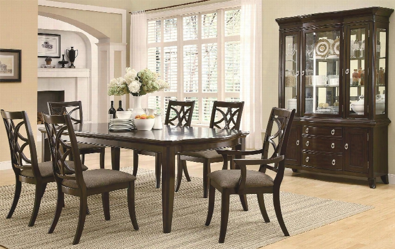 Meredith 103531setb 8 Pc Dining Room Set With Table + 4 Side Chairs + 2 Arm Chairs + China Cabinet In Espresso
