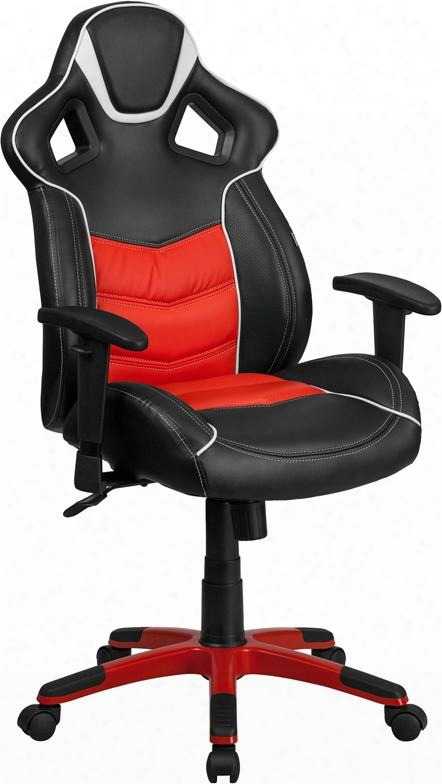 "Monterey Collection Cp-b331a01-red-gg 43""-47"" High Back Vinyl Executive Swivel Office Chair With Inner-coil Spring Comfort Seat And Built-in Lumbar Support In"