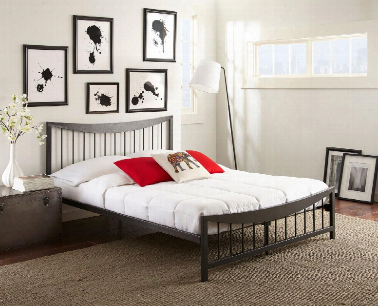 Nora Collection Mfp02253tw Twin Size Platform Bed With Metal Frame And Modern Style In Dark
