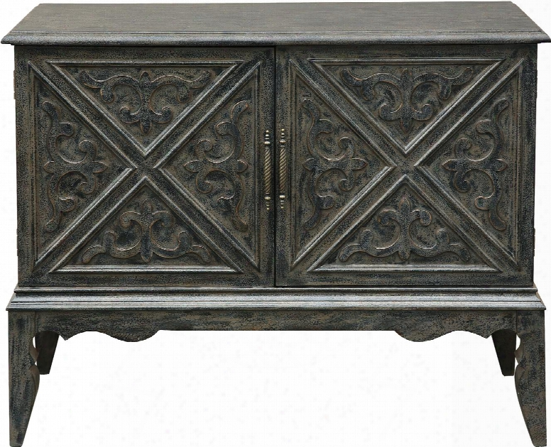 "P017169 47"" Bar Cabinet With Adjustable Self Stemware Rack Distressed Detailing And Decorative Hardware In"