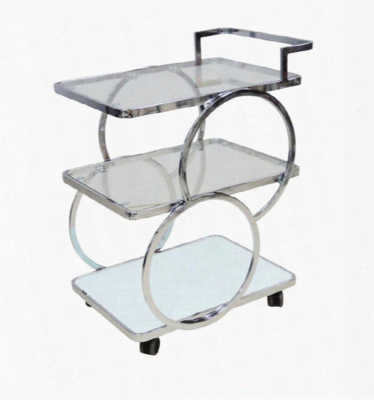 """Potenza Collection Cb-d6008cart 24"""" Bar Cart With Casters Chrome Metal Frame And Glass"""