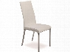 """Lotto Collection TC-2007-WH 39"""" Dining Chair with Italian Leather Chrome Legs and Stitched Detailing in"""
