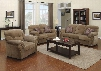 Patricia 51950SLCT 6 PC Living Room Set with Sofa + Loveseat + Chair + 3 PK Table Set in Light Brown