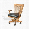 "Sedona Collection 1412RO 38"" Game Chair with Cushion Seat Microfiber Upholstery and Casters in Rustic Oak"