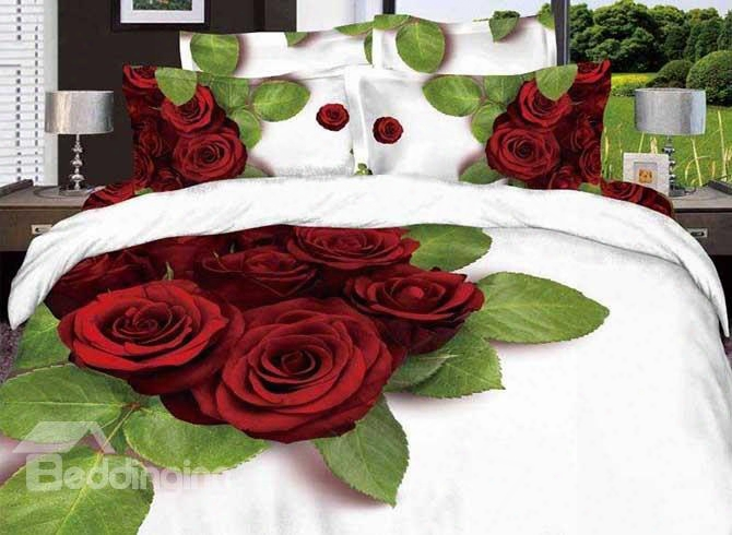 3d Red Rose And Green Leaves Printed Cotton 4-piece White Bedding Sets