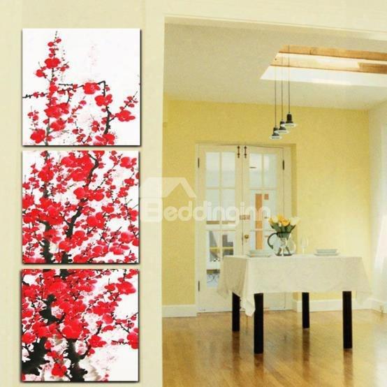 New Arrival Beautiful Red Plum Blossoms Print 3-piece Cross Film Wall Art Prints