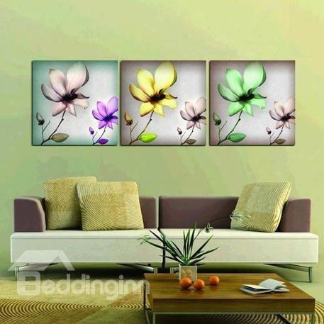 New Arrival Elegant Colorful Flowers Print 3-piece Cross Film Wall Art Prints