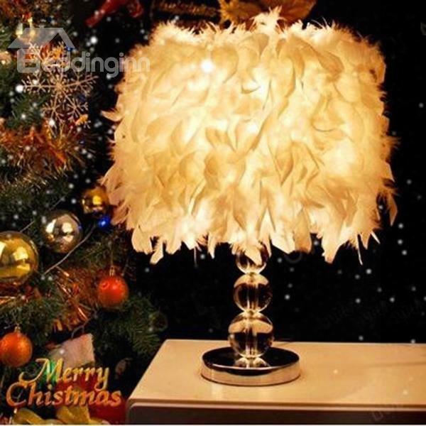White Creative Design Romantic Feather Decorative Dimming Table Lamp