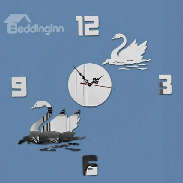Wonderful Modernd Esign Beautiful Swan Decoration Digital Battery Wall Clock