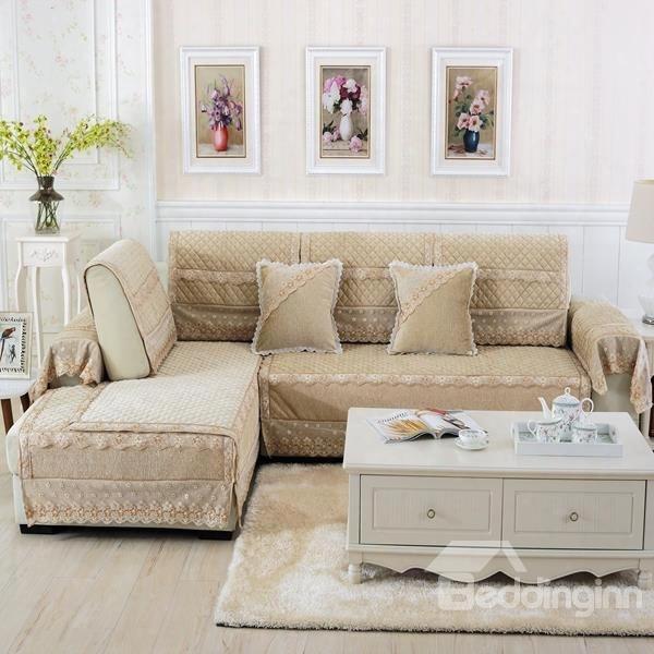 Beige Plush Thicken Heating  Qilting Cushion Slip Resistant Sofa Covers