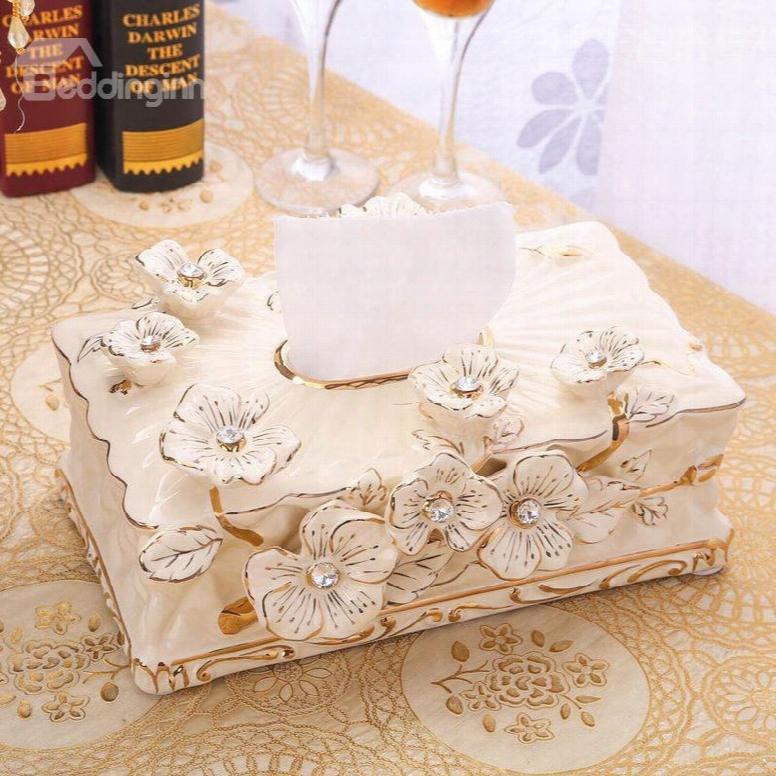 European Style Floral Design Ceramics Paper Holder