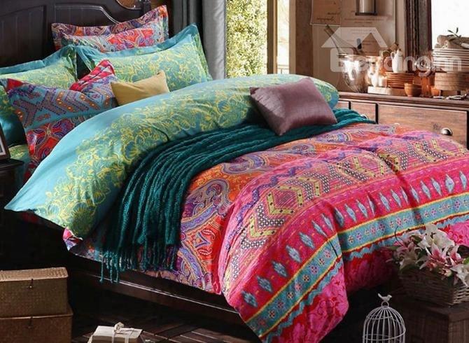 Fabulous Damask Print Pink 4-piece Cotton Bedding Sets/duvet Cover