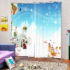 Cute Santa and Warm Village Printing Christmas Theme 3D Curtain