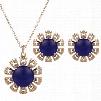 Glamours Dark Purple Diamante Flower Design ewelry Sets