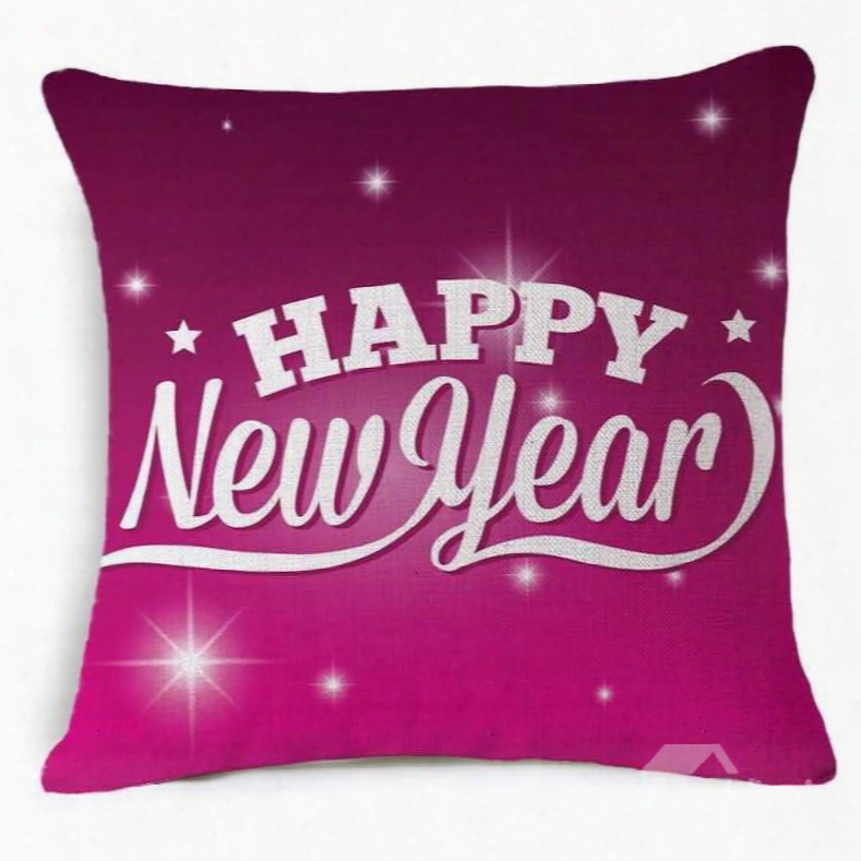 Typography Happy New Year Print Burgundy Throw Pillow