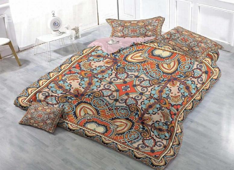 3d Ornamental Pattern Printed Cotton 4-piece Bedding Sets/duvet Covers