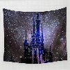 Castle under Galaxy Space and Twinkle Stars Decorative Hanging Wall Tapestry