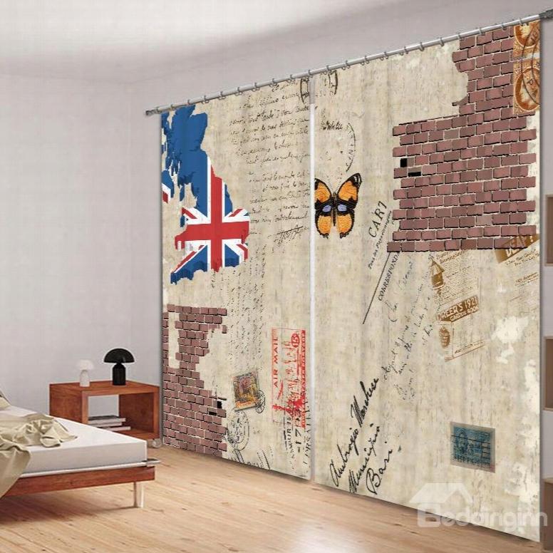 Retro British Romantic 3d Printed Polyester Curtain