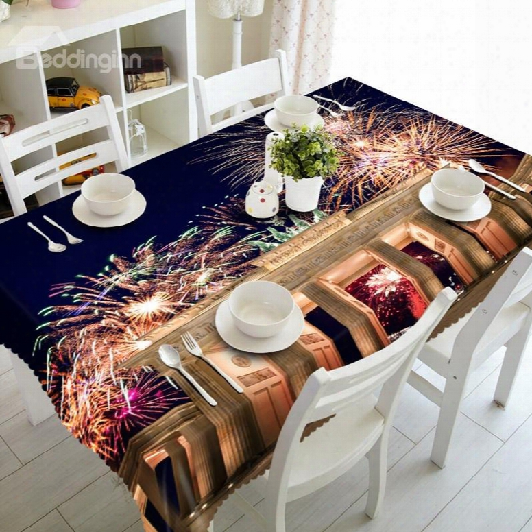 Splendid Fireworks Scenery Prints Washable Dining Room Decoration 3d Tablecloth
