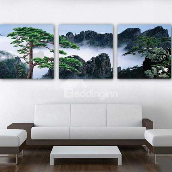 "16ãƒâ�""16inãƒâ�""3 Panels Green Pine Tree In Foggy Mountains Hanging Canvas Waterproof Eco-friendly Framed Prints"