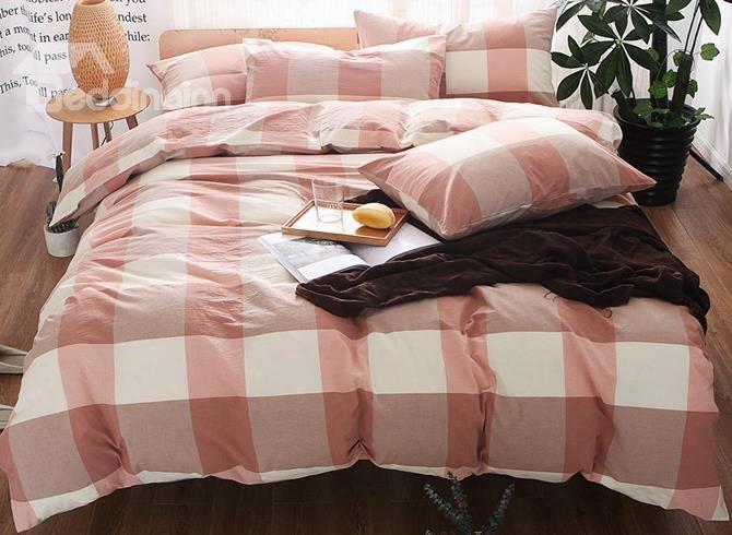 Big Fresh Pink Plaid Print Cotton 4-piece Bedding Sets/duvet Cover
