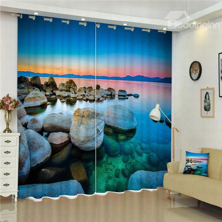 3d Grotesque Stones And Clear Water With Rosy Clouds Printed Decorative And Shading Curtain