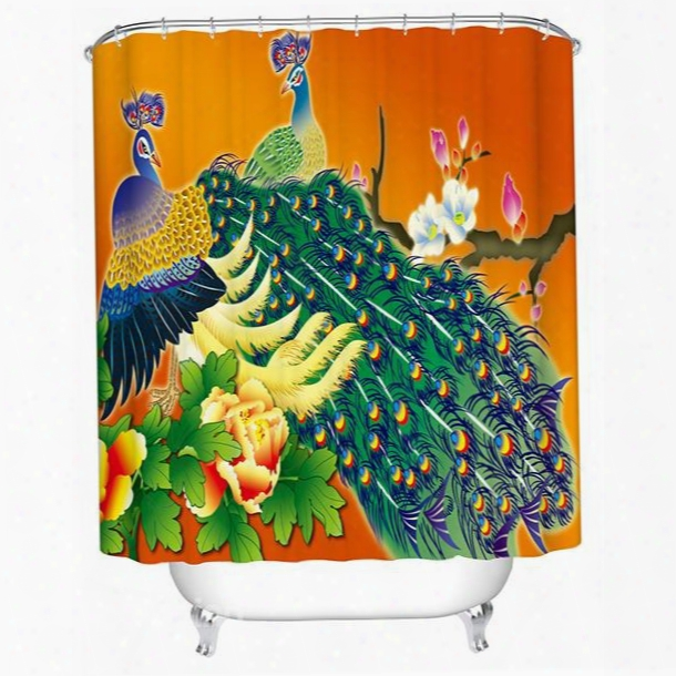 3d Peacock Couple And Peony Printed Polyester Orange Shower Curtain