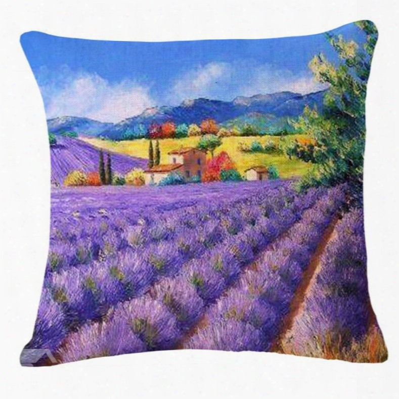 Exquisite Fields Of Lavender Oil Painting Throw Pillow