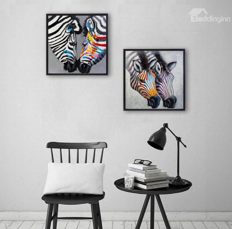 Amazing Two Lovely Zebra Pattern Ready To Hang Framed Wall Art Prints