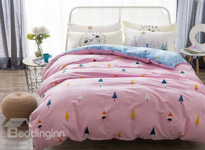 Colorful Trees Printed Cotton Pink Kids Duvet Covers/bedding Sets