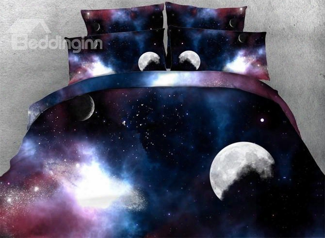 3d Moon And Galaxy Printed 5-piece Stuffed Coverlet Sets