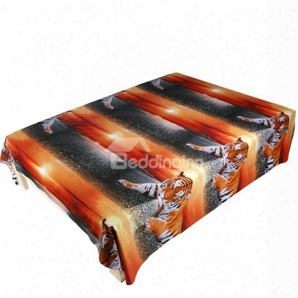 Lifelike Lying Tiger 3d Printed Flat Sheet