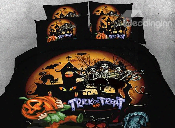 Onlwe 3d Skull And Halloween Party Printed 4-piece Bedding Sets/duvet Covers