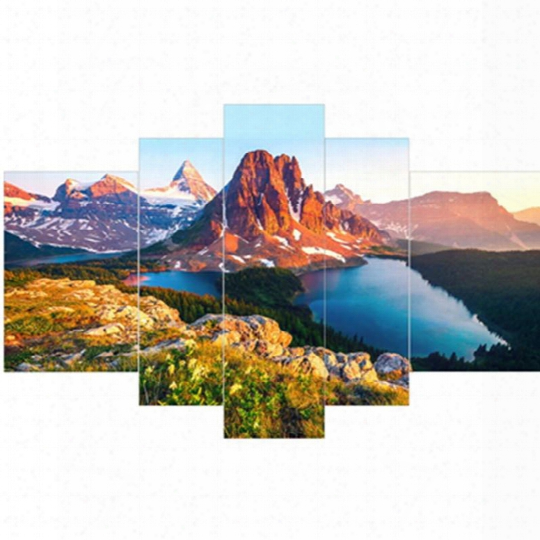 Snow Mountains Surrounded By Lake Hangng 5-piece Canvas Eco-friendly And Waterproof Non-framed Prints