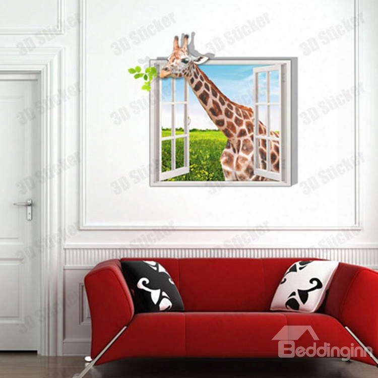 Alluring Style Creative 3d Giraffe Outsids The Window Wall Sticker
